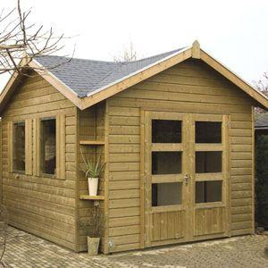 Tuinhuis met lessenaarsdak en overkapping - houtduif 2